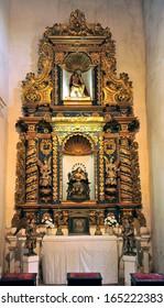 REMEIDOS, CUBA, MAY 7, 2009. An altar in the church Iglesia Mayor, in Remeidos, Cuba, on May 7th, 2009.