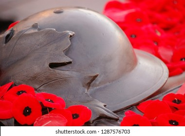 A Remembrance Day closeup photo of the Tomb of the Unknown Soldier at The National War Memorial. Located in downtown Ottawa Ontario Canada.