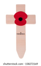 Remembrance Day poppy isolated on white background.
