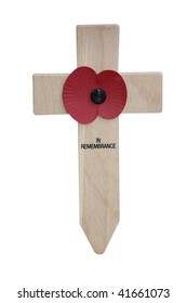 A Remembrance Day Poppy on a Wooden Cross.