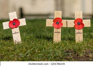 Remembrance Day tributes of crosses and poppies, planted as a memorial to those who have lost their lives - Armistice Day, 100 year centenary since the end of The Great War, WW1