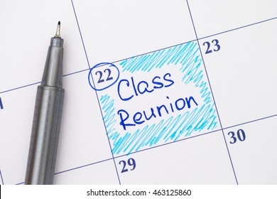 Reminder Class Reunion in calendar with blue pen.