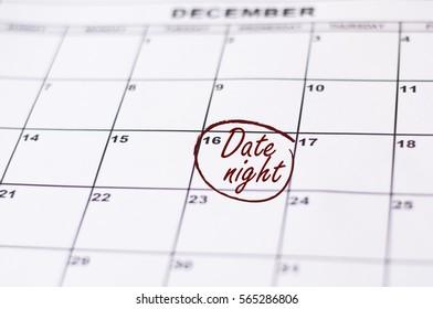Reminder Date Night in calendar. A Date Night Highlighted on a Calendar.