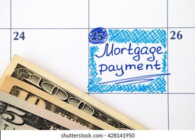 Reminder Mortgage Payment in calendar with dollar banknotes