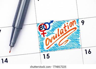 Reminder Ovulation in calendar with orange pen. Close-up.