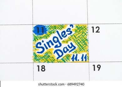 Reminder Singles Day 11.11 in calendar. Close-up.