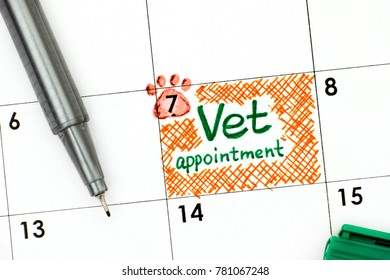 Reminder Vet Appointment in calendar with green pen. Close-up.