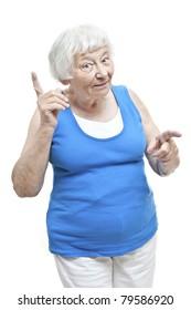 Reminding senior woman portrait
