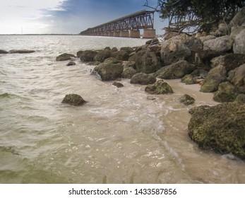 Remnant of an old railway bridge rests unused in the Florida Keys