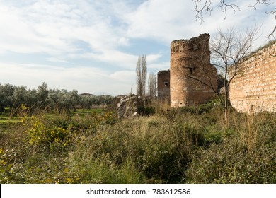 remnants of the ancient Roman wall surrounding the historic city of Nicea (Iznik), Turkey