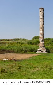 Remnants of the ancient Temple of Artemis on the site where the temple stood in Epesus, near the town of Selcuk, Izmir Province in Turkey