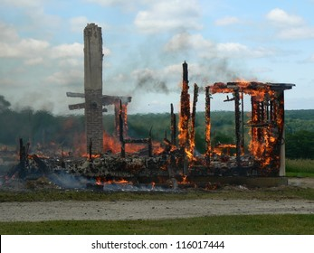 remnants of burning house