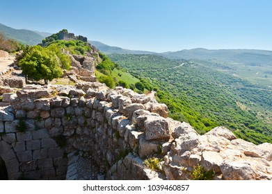 Remnants of castle on the Golan Heights near the Israeli border with Syria. The Nimrod Fortress, National Park of Israel, scenery on the slopes of mount Hermon.