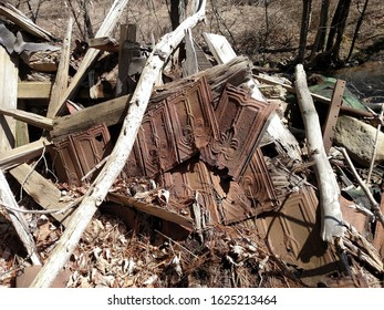 Remnants of collapsed farmhouse near Old Route 15. Liberty, Pennsylvania USA. April 1, 2018.