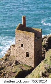 The remnants of the Crown Engine House, a tin mine in Botallack, Cornwall.