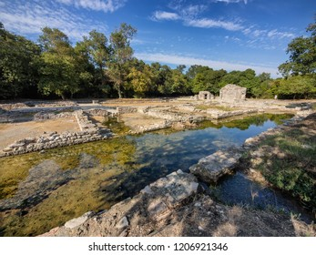 Remnants of homes in Butrint ancient city, Albania
