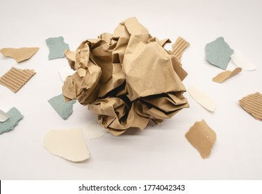 Remnants of old paper isolated on a white background.