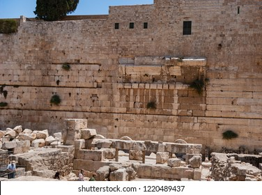 remnants of robinson's arch on the western wall above the herodian street  below the temple mount in Jerusalem