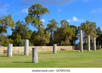 Remnants of the Roman structures in the park of Ashkelon in Israel