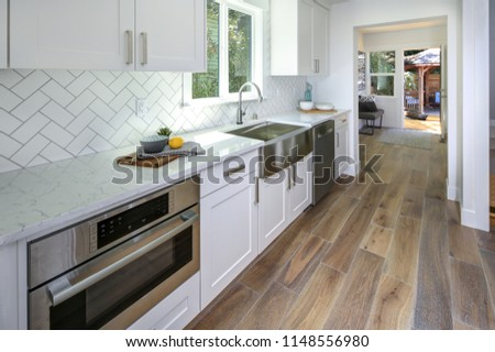 Remodeled Kitchen Pure White Cabinets Marble Stock Photo Edit Now
