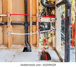 Remodeling a home bathroom, moving plumbing for new sinks