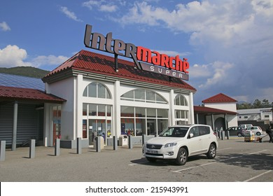REMOLLON, FRANCE - SEPTEMBER 8, 2014: Intermarche is a French supermarket brand, part of the large retail group Les Mousquetaires founded in 1969 by Jean Pierre Roch