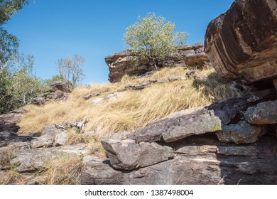 Remote bushland with natural rock formations under a blue sky on a sunny day in Kakadu, Australia