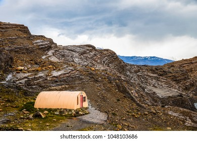 Remote cabin in the mountains in Patagonia