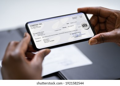 Remote Check Deposit Taking Photo With Mobile Phone