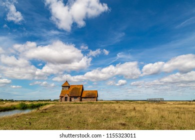 The remote church of St Thomas a Becket, at Fairfield in Romney Marsh, Kent