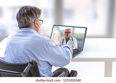 Remote consultation for disabled patient- Doctor comforting a disabled patient