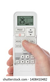 Remote control from air conditioner in hand isolated on white background
