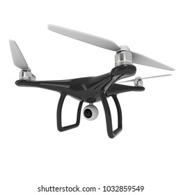 Remote control air drone. Dron flying with action video camera. 3d render Isolated on white background.