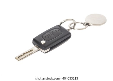 Remote control car key with metal keyring on isolated white background