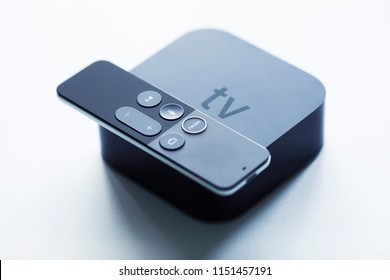 Remote control devices concept. Set of controller and micro console for TV watching and online streaming. Top view. Space for a text. Close up.