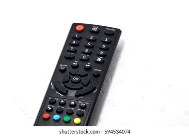 Remote control function buttons close up view. Entertainment, communication and networking concept. Options for us to choose.