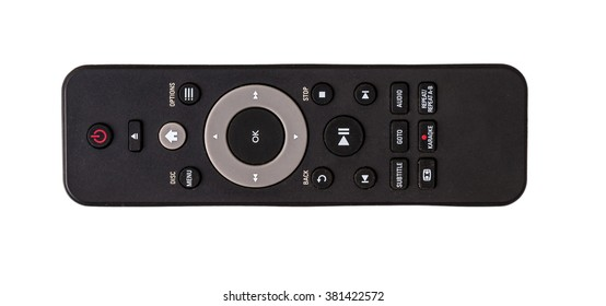 Remote control isolated on white background photo top view, flat lie