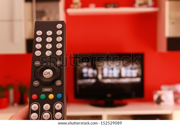 Remote control in living room.