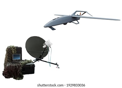 Remote control, modern aviation technologies, on a white background. Unmanned Aerial Vehicle. Drone. Facility with Aircraft for Performing Surveillance, Warfare Tactics, Attack.