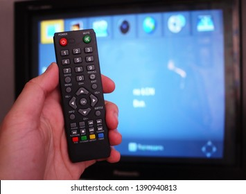 Remote control.  Set-top box for receiving video and TV signal.