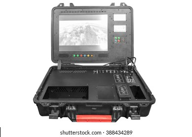 Remote Control of a war drone U.A.V aircraft military mission isolated on white background with clipping path