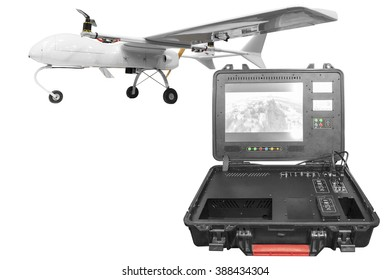 Remote Control with a war drone U.A.V aircraft military mission isolated on white background with clipping path