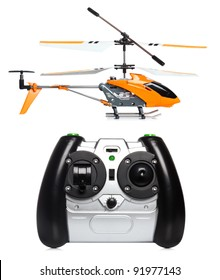 Remote controlled helicopter with controlling handset
