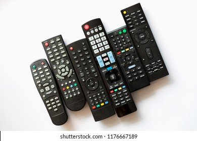 Remote controls on white background.