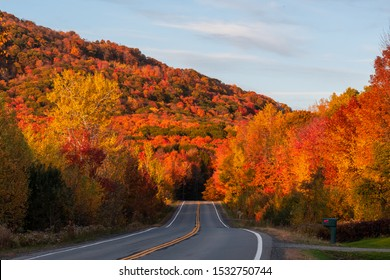 Remote countryside paved road with a beautiful mountain covered in colorful trees at sunset. Fall foliage. Shot in Bromont, Quebec, Canada.