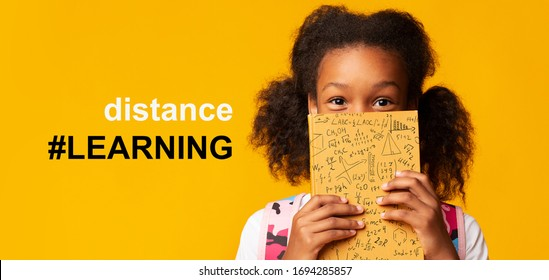 Remote education during COVID-19 epidemic. Cute girl hiding behind book and hashtag DISTANCE LEARNING, collage on orange background. Panorama