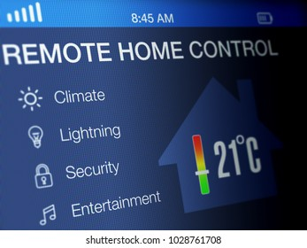 Remote home control screen on a high resolution LCD screen.