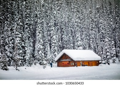 Remote little wooden cabin lost in the Winter snowfall in the Canadian Rockies