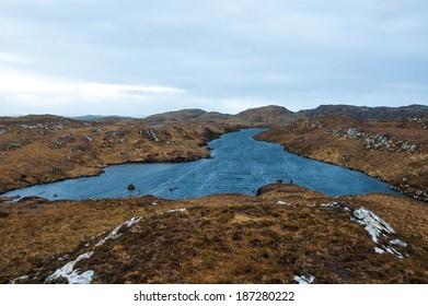 Remote loch in the Scottish Highlands. Assynt, Sutherland. Scotland. UK.