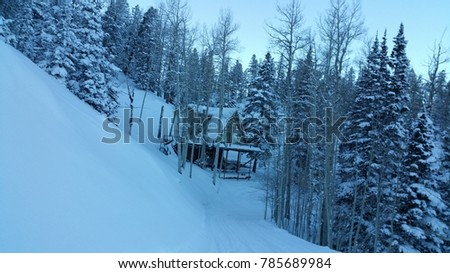 Remote Log Cabin Woods Covered Snow Stock Photo Edit Now 785689984